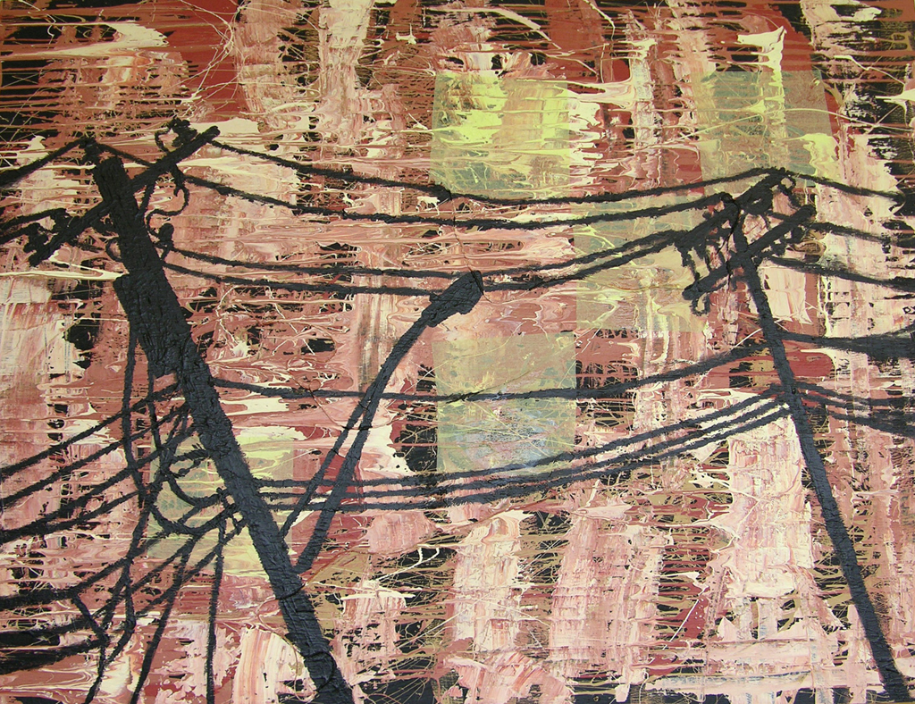"Body of Transmission, latex, acrylic, paper on wood, 48"" x 72"""