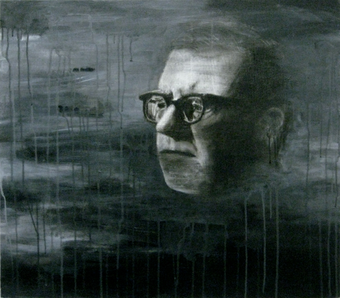 "Shostakovich, charcoal, chalk and acrylic on canvas, 24"" x 30"""