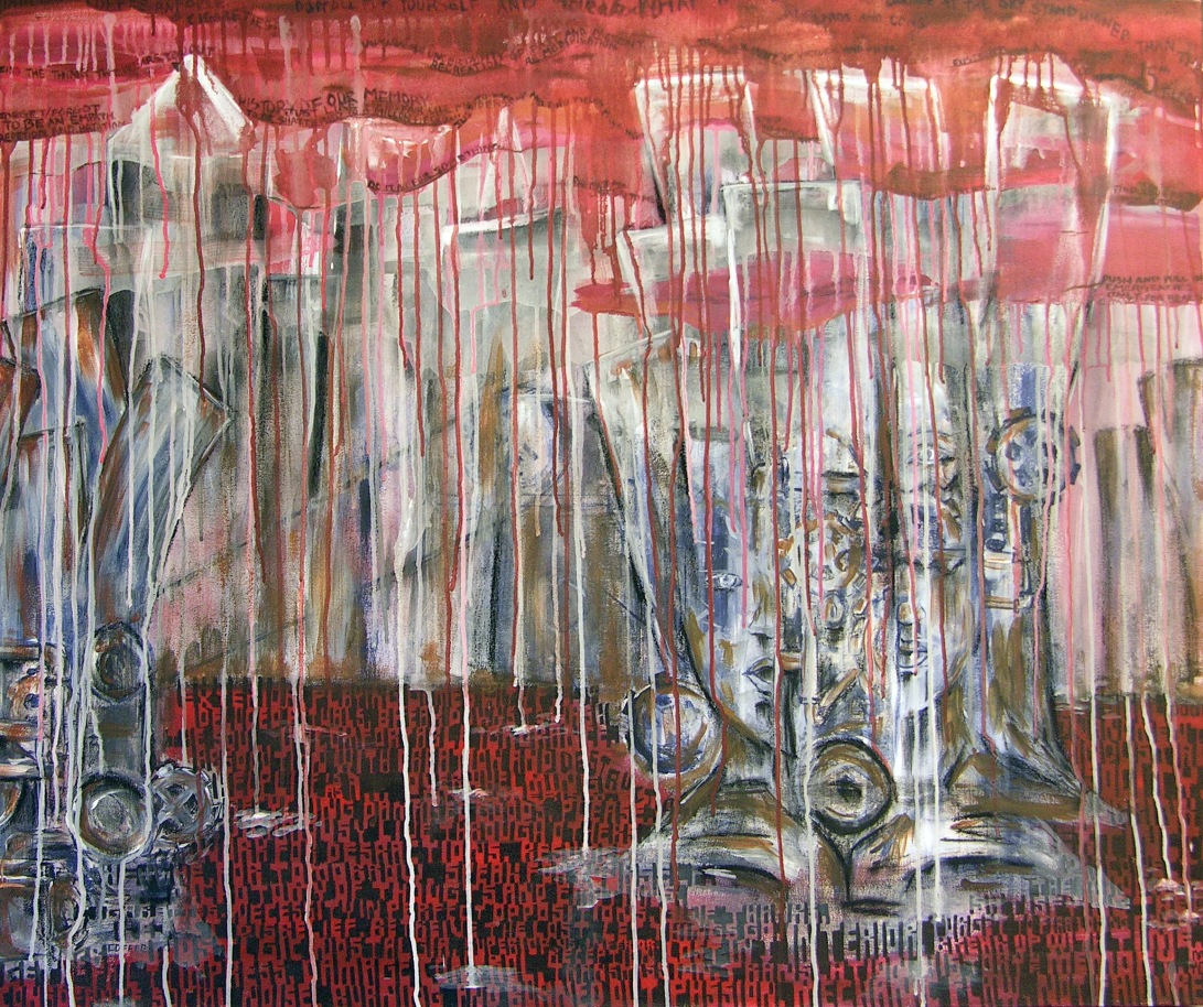 Things Fall Apart, acrylic, charcoal and ink on canvas