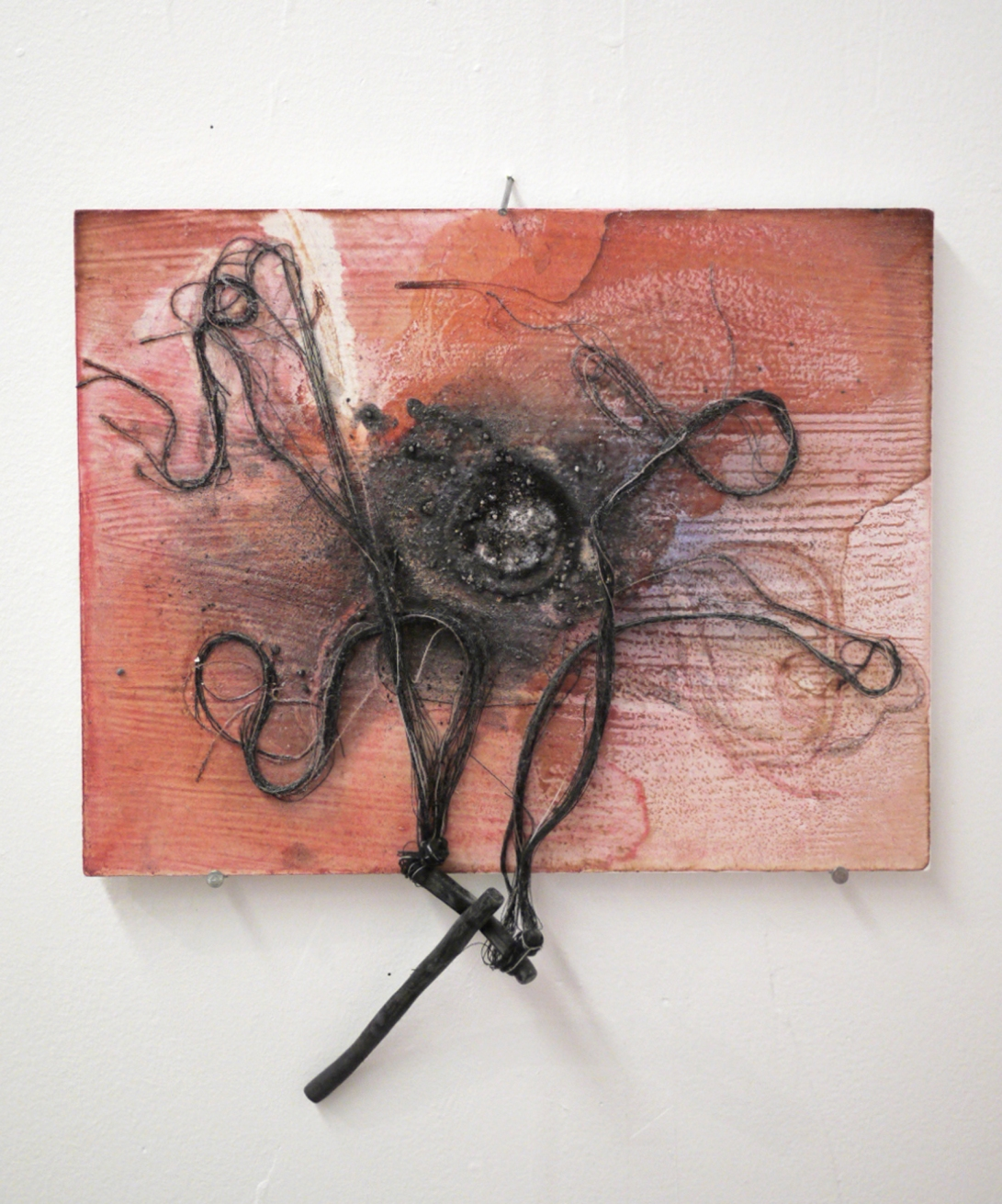 "Uprooted, string, clay, dirt, acrylic on wood, 11"" x 13"""