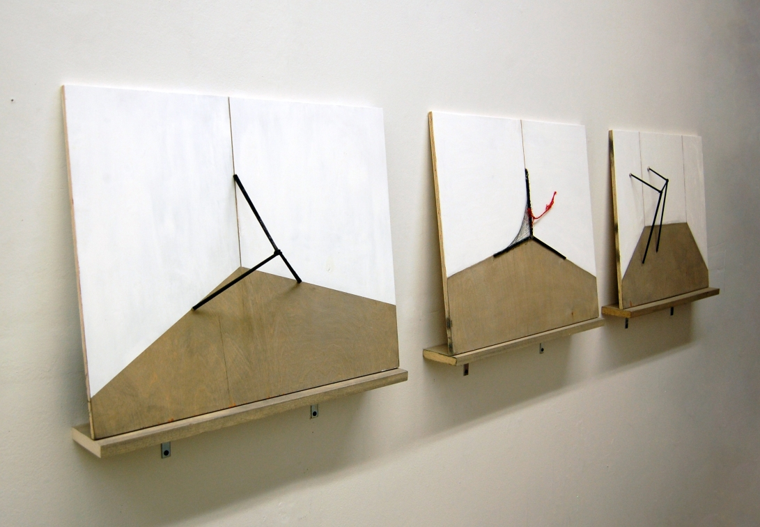 "2D-3D, Wood Panels, Chopsticks, String, Silicone Glue, 15"" x 18"""