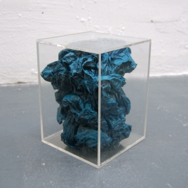"Caged, 2013; Plexiglas, plastic sheeting, spray enamel; 6"" x 6"" x 8"""