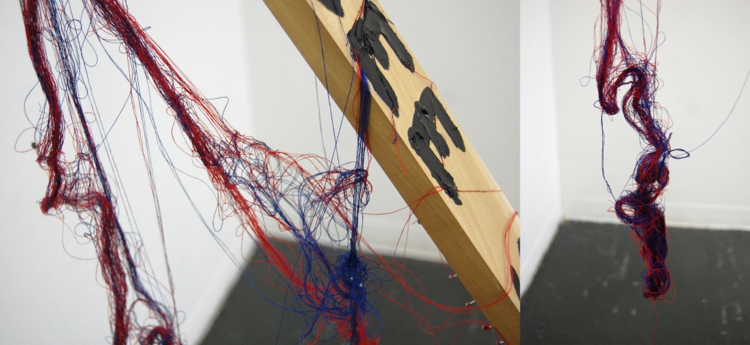 "If You See Something (detail),  Wood, String, Nails, Acrylic Paint, 84"" x 48"" x 4"""