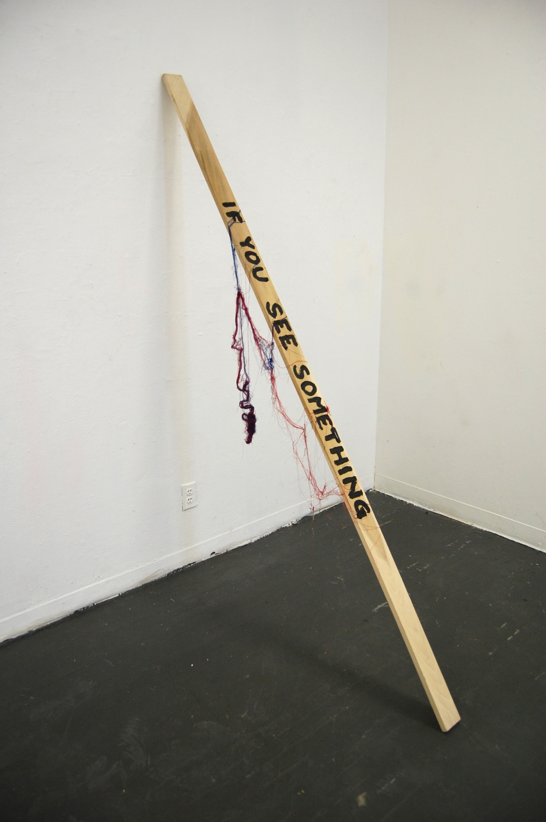 "If You See Something,  Wood, String, Nails, Acrylic Paint, 84"" x 48"" x 4"""